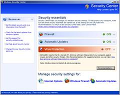 本物のWindowsセキュリティセンターのデザインをそのまんまパクった偽セキュリティソフトのウィンドウ画面