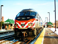 Eastbound Metra local at the Elmwood Park station. Elmwood Park Illinois. Febuary 2008.