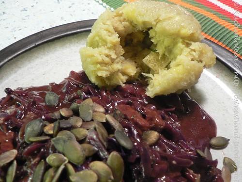Rotkohl-Geschnetzeltes mit Roquefort und Kartoffelklößen 002