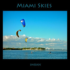 Parasurfers Line Up Against Miami Sky(line) - IMRAN  7500+ Views! (ImranAnwar) Tags: ocean travel blue sky beach water clouds square outdoors landscapes nikon marine miami framed 2008 lifestyles s6 supershot worldbest anawesomeshot goldstaraward rubyphotographer