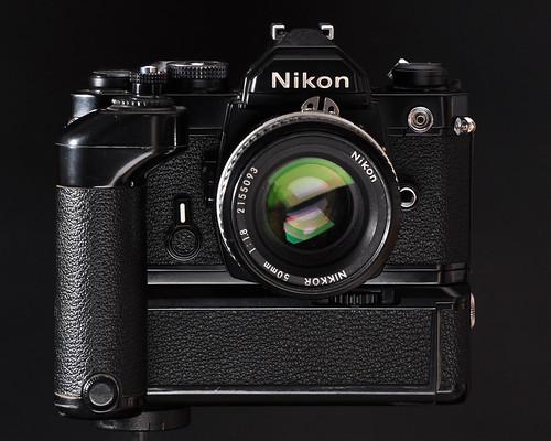 Nikon FM + MD-11 + Nikkor 50mm f/1.8 lens