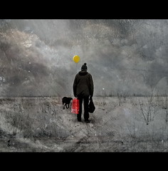 Red Spirit Bag (h.koppdelaney) Tags: winter light shadow red snow man black cold colour