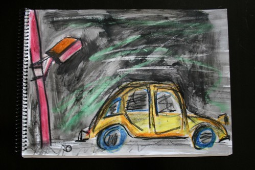 """Car in Palermo"" - Mixed Media on Paper - 11""x14"""