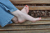Crossed Over Pose (Artistic Feet) Tags: pink cute feet girl pose asian photography foot model toes pretty skin artistic bare over peach polish pale jeans nails barefoot heels heel soles ankles crossed ubersexy