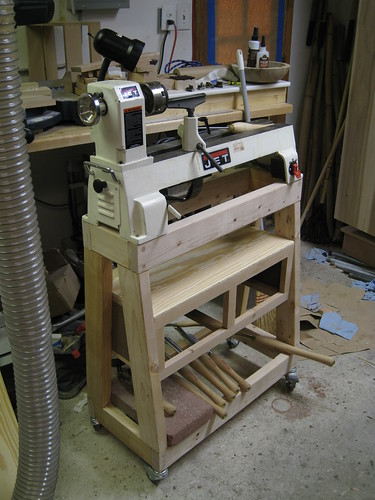 drawer carcase installed under lathe stand