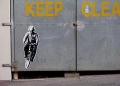 Einstein rides again (witness 1) Tags: streetart pasteup bicycle graffiti einstein adelaide unisa citywest peterdrew