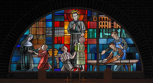 Saint John Bosco Roman Catholic Church, in Saint Louis County, Missouri, USA - stained glass window of Saint John Bosco