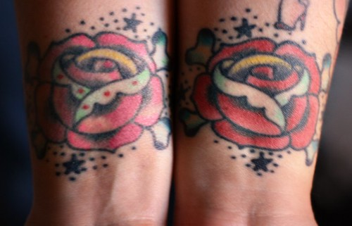pink rose tattoo pictures. Pink and Red Rose Tattoos