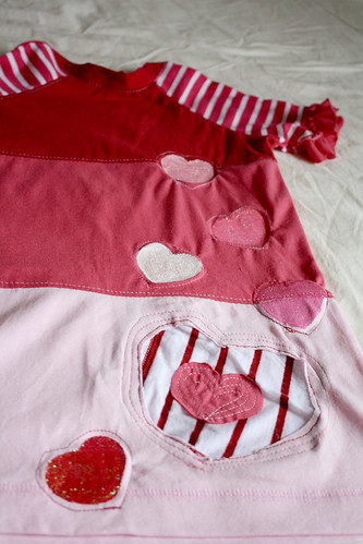 Reverse applique and painted hearts