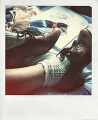 (the exhausted etiquette.) Tags: pink blue sunglasses misty polaroid purple legs pastels dreamy lula limbs hazy bows bedsheets topshop knittedsocks vintageoxfords oxfordheels