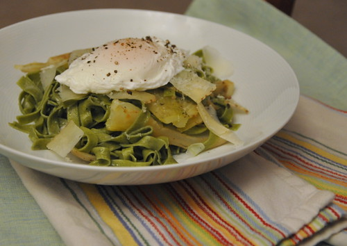 Caramalized Fennel Fettuce with a Poached Egg