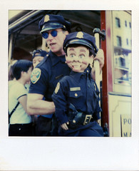 S.F.P.D. Trolley Division (ThePolaroidGuy [CensoredRestricted]) Tags: sanfrancisco california portrait color art film strange smile sunglasses analog laughing manipulated mouth ed polaroid sx70 outdoors weird eyes downtown experimental cops puppet expression availablelight trolley 1996 surreal police style naturallight manipulation edward american reality drake dummy kingedward powellstreet visionary timezero landcamera officers streetlevel polaroidsx70 3rdeye colorfilm sx70manipulation instantfilm my3rdeye intergral edwarddrake edwarddrakemfa thepolaroidguy my3rdeyeuncensored