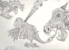 abstract creatures (DrewusMaximus) Tags: life abstract art animal animals monster pencil weird sketch artwork drawing eating reptile snake teeth creepy story fantasy mystical toungue creature tale myth maximus shading drewus