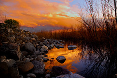 Pond-Reflections (wasatchreflections) Tags: sunset sky color reflection nature water clouds reflections utah pond rocks colorphotoaward artofimages bestcapturesaoi elitegalleryaoi wasatchreflections