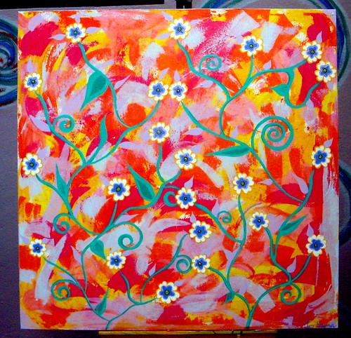 Acrílico sobre tela - Espatulado com Flores
