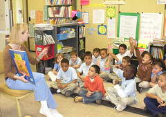Teacher Heather Kahn reads to her class at M.D. Fox Elementary School in Hartford, one of eight CommPACT schools in Connecticut.