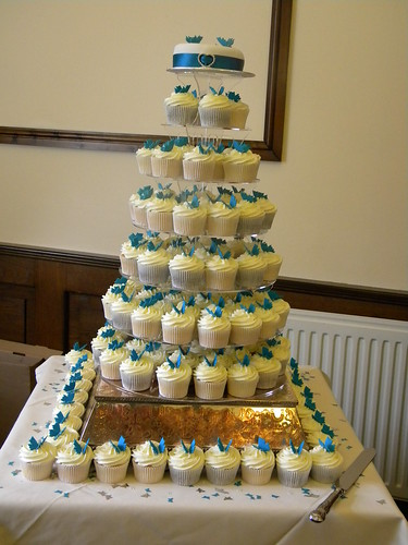 Teal Butterfly Theme Wedding Cupcakes