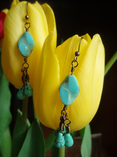 Green Turquoise Earrings by Ocean Pearl Jewellery