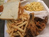 Chicken, mac and cheese, fries, bread
