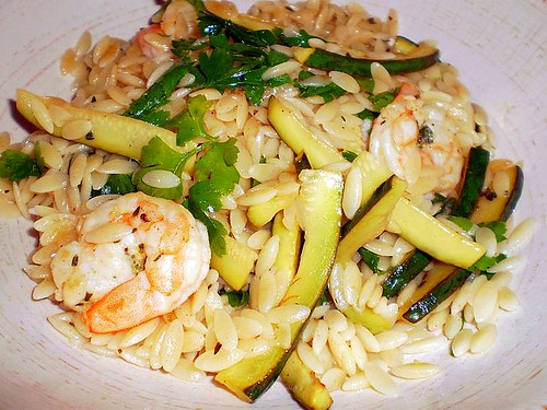 Risoni with lemon pepper prawns