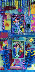 Under the Sea (polychrome's palace) Tags: blue sea collage mixedmedia canvas mermaid underthesea