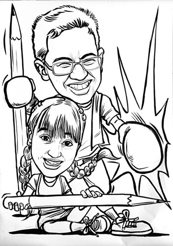 Caricatures of Nigel Chew & Jermaine Leong in ink