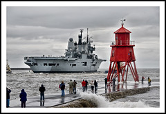 Ark Royal leaving the Tyne - 39/NOT365 (Paul J White) Tags: red wet water grey pier waves battleship aircraftcarrier arkroyal southshields groyne hms rivertyne swanhunters royalnavysflagship