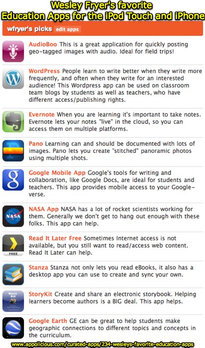 Best iPhone Apps: Wesley's Favorite Education Apps by wfryer | Appolicious ™ iPhone App Directory