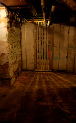 walkway (lovethetrio) Tags: door wood old light brick digital closet dark underground scary nikon floor availablelight pipes maryland creepy dirt wierd rays aged hagerstown asbestos d60 mymomsbasement housewasbuiltinlate1800s