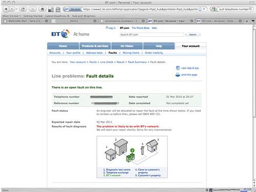 BT fault page