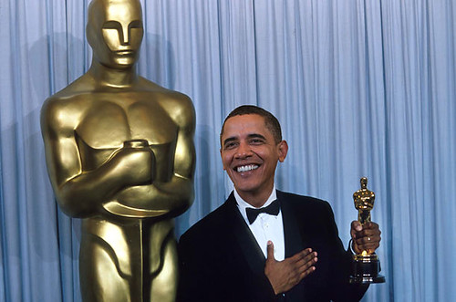 President Obama with an Oscar statuette