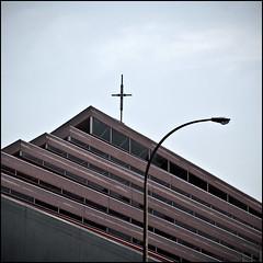 La croix ( CHRISTIAN ) Tags: lines architecture square cross montral streetlamp geometry qubec abstraction glise gomtrie lightpole lignes lampadaire croix carr chirch mtlguessed gwim