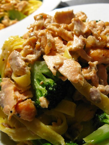 Lemon Fettucini with broccoli and salmon