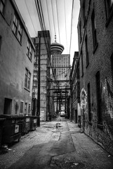 Vancouver Alleyway (Brandon Godfrey) Tags: world pictures city wallpaper urban blackandwhite bw canada detail vancouver buildings landscape photography alley scenery downtown cityscape bc metro photos pics earth britishcolumbia details free scene canadian alleyway pacificnorthwest northamerica hdr harbourcentre grimy lowermainland backround tonemapped tonemapping thechallengegame challengegamewinner sonya300