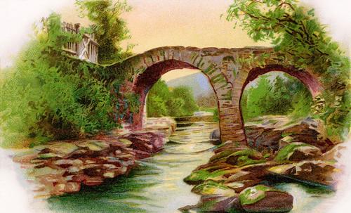 St. Patrick's Day Greeting: Old Weir Bridge, Killarney, Ireland - vintage 1910 illustration