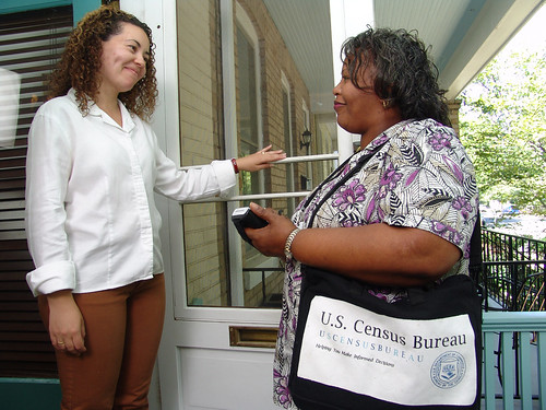 Census workers have been busy visiting residents to increase awareness about the 2010 Census, verify addresses and answer questions. Credit: U.S. Census Bureau, Public Information Office