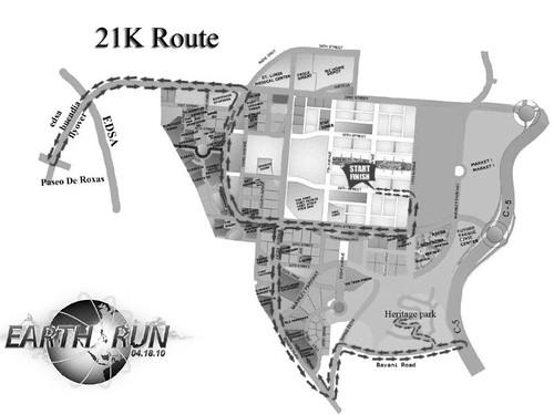 Earth Run 2010 - 21K Race Map