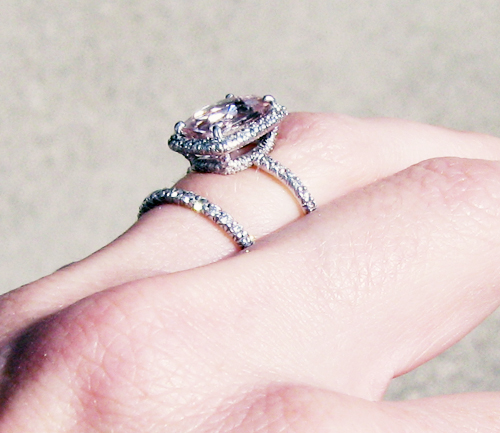 engagement ring with pink stone pave diamonds 1