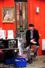 red man (Jamie McClement) Tags: road street red portrait london painting market stall portobello seller d5000