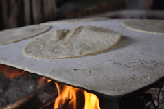tortilla making on an open fire