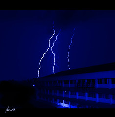 Forces Of Nature (Tomasito.!) Tags: longexposure nightphotography storm building nature night clouds hospital d50 concrete nikon force philippines monotone zeus lightning jt lightningbolt noriega umc tomasito delasalle percyjackson dlsumc delasalleuniversitymedicalcenter