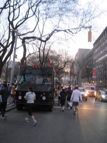 Line of UPS Trucks