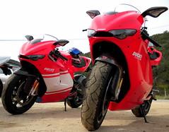 about $140k of Italian bike lust ((CMC)) Tags: california speed motorcycles triumph biker r1 sportbike orangecounty daytona ducati bonneville ortegahighway desmosedici