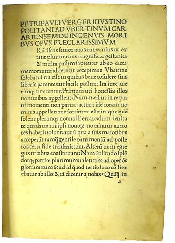 De ingenuis moribus ac liberalibus studiis; first page.