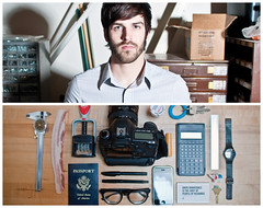 David Diptych (J Trav) Tags: portrait people elephant pen keys persona glasses bacon diptych watch stamp calculator medicine canon5d whatsinyourbag passport ruler businesscard resource iphone theitemswecarry