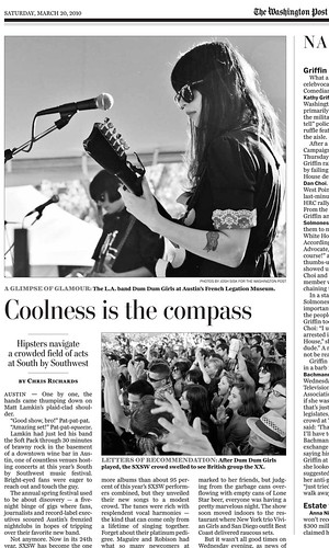 Dum Dum Girls in Washington Post 3-20-2010