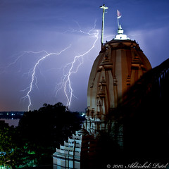 The Power of Almight (Abhishek.Patel) Tags: blue india storm beautiful lens temple amazing nikon long exposure tripod bolt remote kit lightning dual controller incredible abhishek thunder patel gujarat lenses surat stormchaser d40 ambaji 1855vr ambikaniketan
