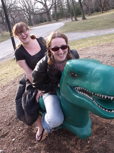 Amy & Holly ride the T-Rex