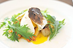 Roasted root winter vegetables served with poached egg and truffle vinaigrette, The White Rabbit, Dempsey