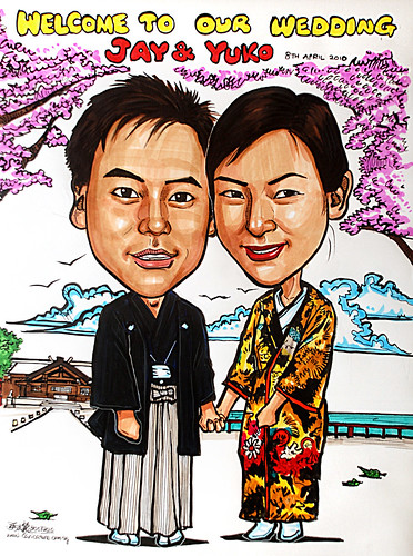 Traditional Japanese wedding  couple caricatures